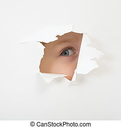 occhio, dall'aspetto, carta, attraverso, foglio, buco