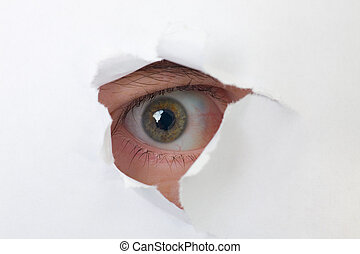 occhio, dall'aspetto, carta, attraverso, umano, buco