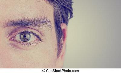 occhio, di, uno, uomo