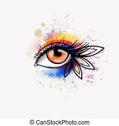 occhio donna, colorito, trucco, creativo, splashes., concetto, fatto