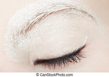 occhio donna, con, bianco, truccare, e, nero, eyeliner