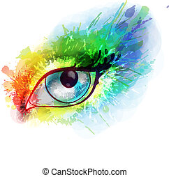 occhio donna, schizzi, colorito, fatto