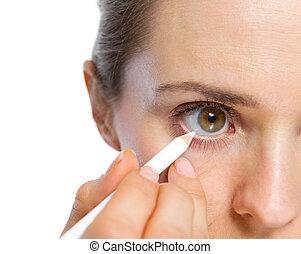 occhio donna, transatlantico, closeup, usando, bianco