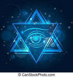 occhio, doppio, triangolo, segno