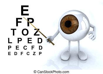 occhio, esposizione, braccia, optometr, lettere, tavola,...