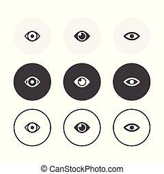 occhio, fondo, arrotondato, disegno, simbolo, semplice, icons., set, 3