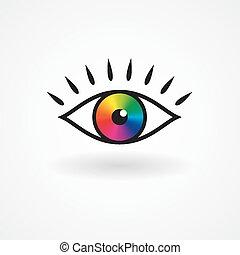 occhio, icona, colorito, vettore