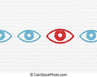 occhio, intimità, parete, fondo, concept:, icona