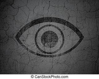occhio, intimità, parete, fondo, grunge, concept: