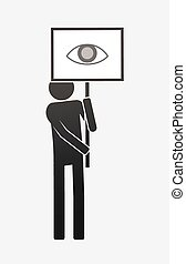 occhio, isolato, dimostrante