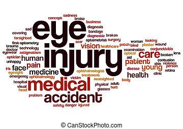 occhio, lesione, parola, nuvola