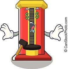 occhio, macchina soldi, gioco, martello, cartone animato