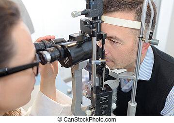 occhio, ottico, dare, femmina, prova, chirurgia, uomo
