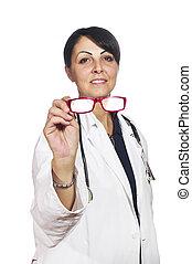 occhio, ottico, esposizione, femmina, prova, occhiali