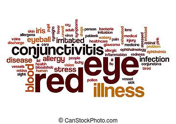 occhio, parola, rosso, nuvola