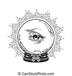 occhio, provvidenza, palla, magia, cristallo