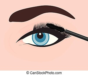 occhio, ragazza, applicare, mascara, lei