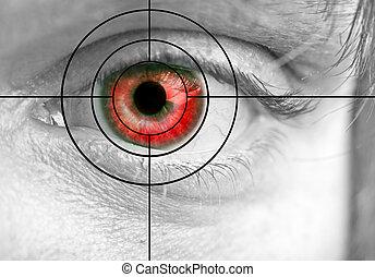occhio, rosso, uomo