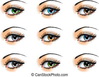 occhio, set, differente, nove, colori