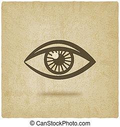 occhio, simbolo, vecchio, fondo
