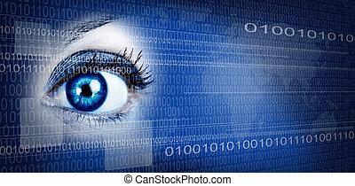 occhio, tecnologia, fondo.
