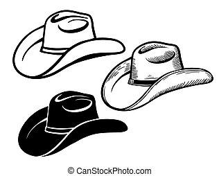 occidental, ensemble, isolé, hat., cow-boy, américain, traditionnel, blanc, chapeaux