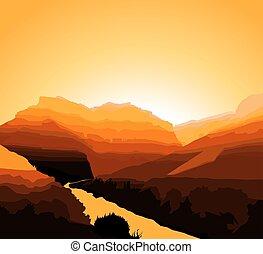 occidental, fond, désert