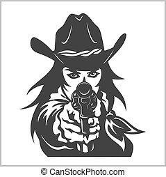 occidental, niña, con, revólver