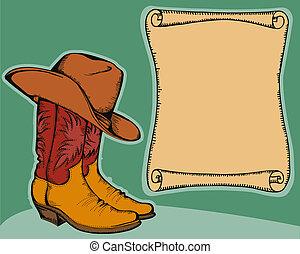 occidental, plano de fondo, con, botas de vaquero, y, hat.vector, color, ilustración