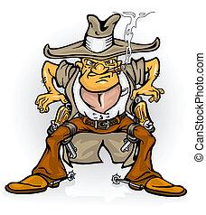 occidental, vaquero, bandido, con, arma de fuego