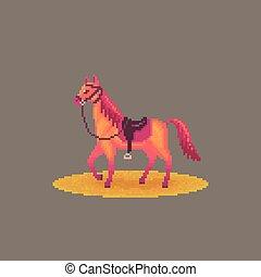 occidentale, arte, pixel, horse.