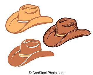 occidentale, set, isolato, hat., cowboy, americano, marrone, tradizionale, bianco, cappelli