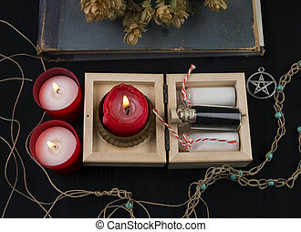 Occult altar with  hops, candles and potion