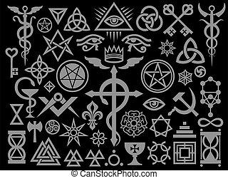 occult, edition), magisch, middeleeuws, postzegels, black , tekens & borden, (silver