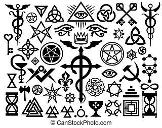 occult, magisch, middeleeuws, (origin, set), postzegels, tekens & borden