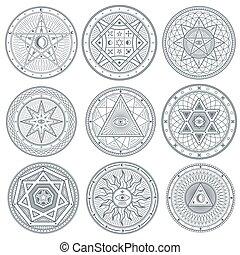 Occult, mystic, spiritual, esoteric vector symbols