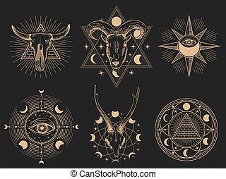 Occult symbols. Vector illustration set. Occult magic tattoo, sacred spirituality esoteric collection, mystic ornament masonic