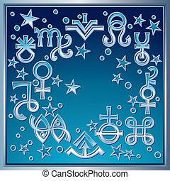 occulte, mystique, symbols., extrait, diadème, quelques-uns, astrologique, signes, récent