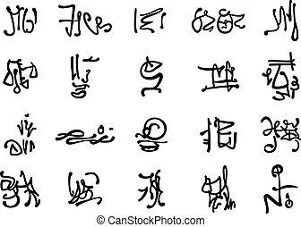 occulte, symboles, ensemble