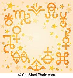 occulte, symbols), céleste, astrologique, diadème, modèle, matin, mystique, stars., chaud, fond, signes, (astrological