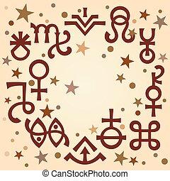 occulte, symbols), céleste, astrologique, diadème, modèle, mystique, stars., fond, signes, antiquité, (astrological