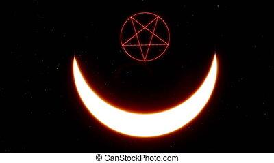 Occultism star satan. Lucifer sigil satanic symbol. Death symbol. Vintage print. Mystic, magic, background 4k