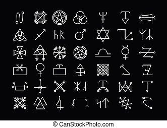 occultisme, philosophie, religion, icônes, spiritualité, ou
