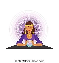 occulto, prevedendo, fortuna, rituale, illustrazione,...