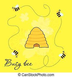 occupé, abeilles, autour de, ruche