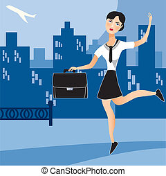 occupé, affaires femme