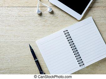 occupé, bureau, de, a, homme affaires, à, une, ouvert, agenda, et, tablet.