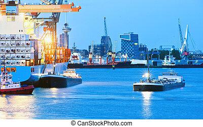 occupé, crépuscule, port maritime
