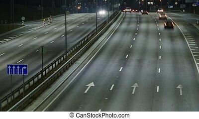 occupé, défaillance, autoroute, trafic, temps, night.