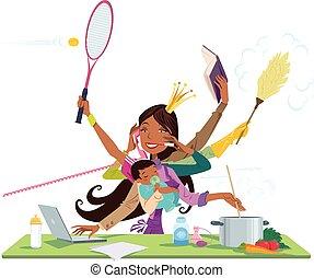 occupé, entre, femme, noir, mère, bébé, travail, multitask
